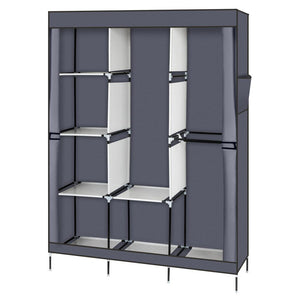 "71"" Portable Closet Wardrobe Clothes Rack Storage Organizer with Shelf Gray"