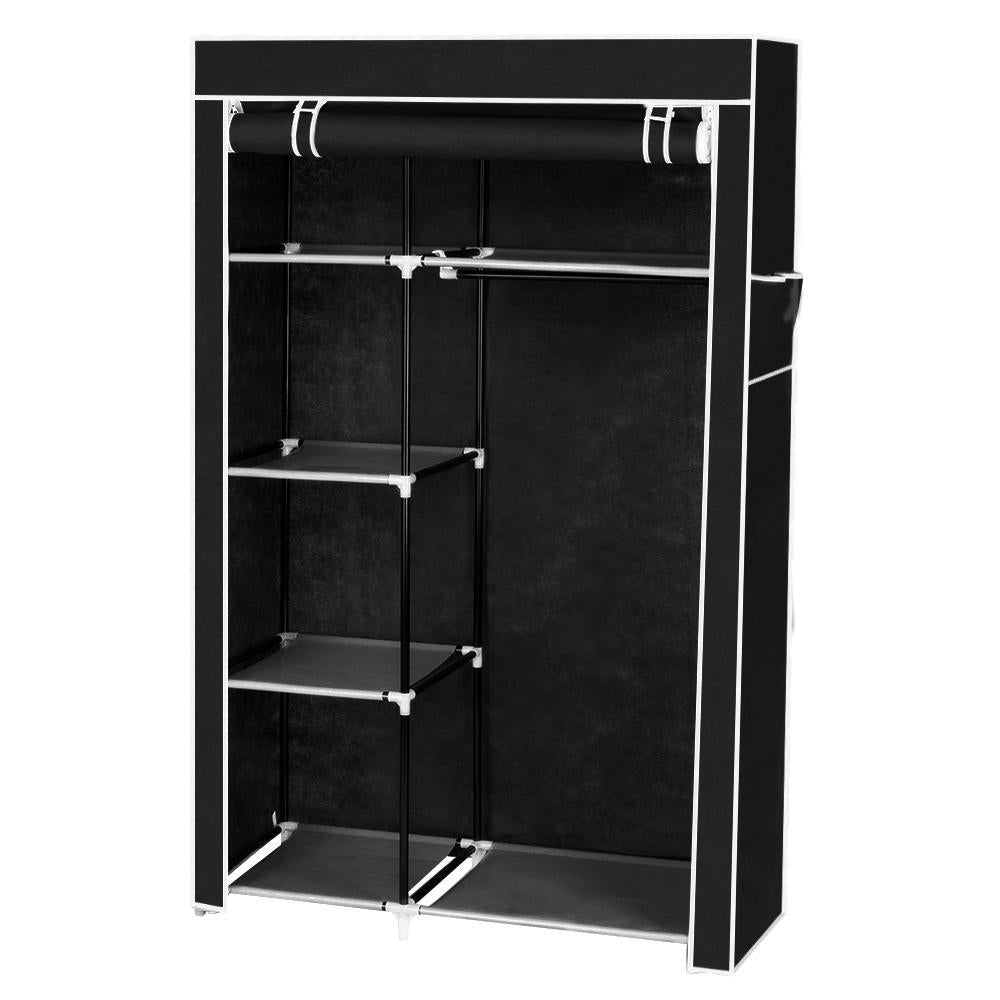 "64"" Portable Closet Storage Organizer Wardrobe Clothes Rack with Shelves Black"
