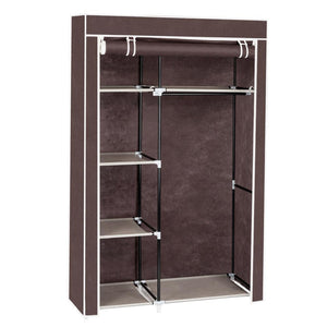 "64"" Portable Closet Storage Organizer Wardrobe Clothes Rack with Shelves Dark Brown"