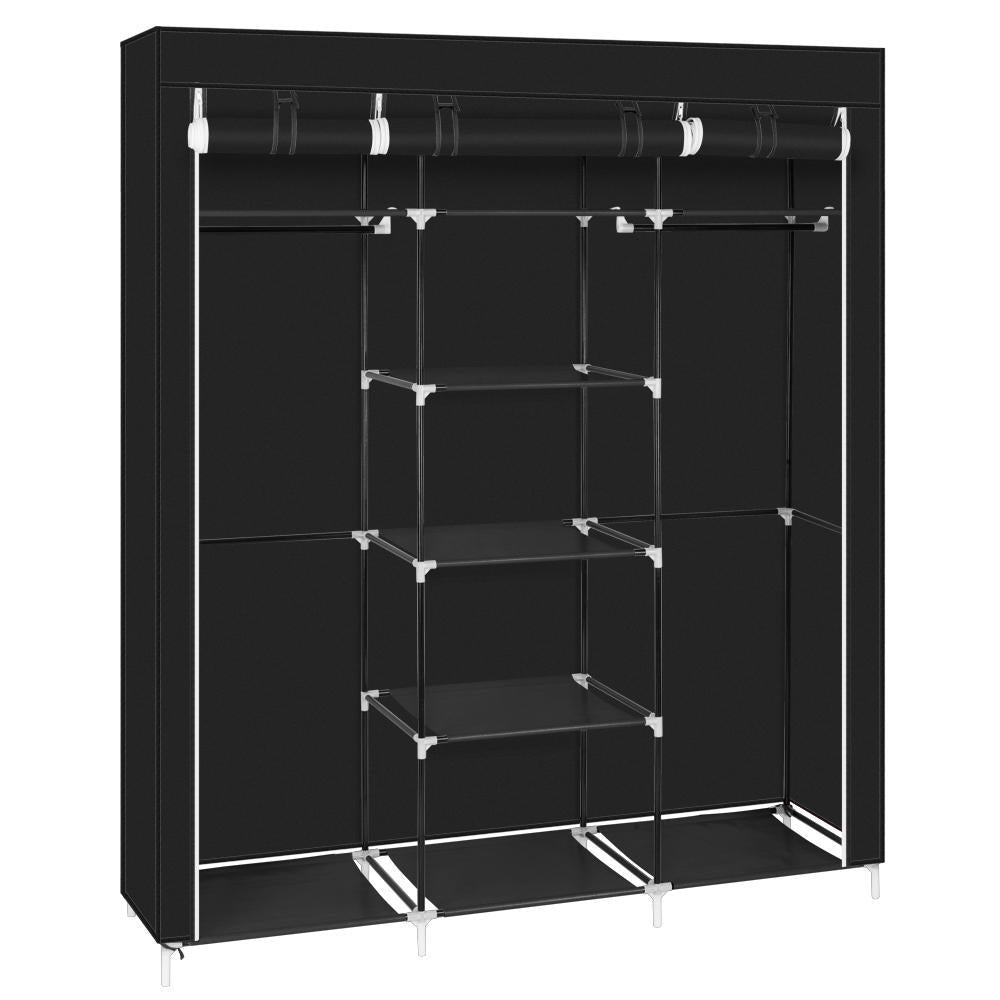 "69"" Portable Clothes Closet Non-Woven Fabric Wardrobe Double Rod Storage Organizer Black"