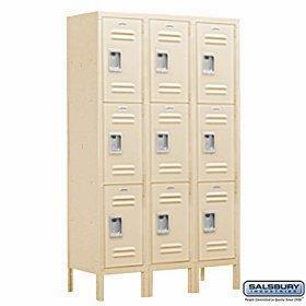 On amazon salsbury industries assembled 3 tier extra wide standard metal locker with three wide storage units 6 feet high by 18 inch deep tan