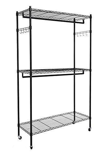 Modrine Double Rod Garment Rack, 3 Tiers Heavy Duty Hanging Closet, with Lockable Rolling Wheels, 2 Side Hooks and 2 Clothes Rods (Black)