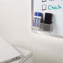Load image into Gallery viewer, Explore magnetic office organizer set of 3 magnetic rectangular metal mesh storage bins basket perfect for whiteboard refrigerator and locker accessories silver