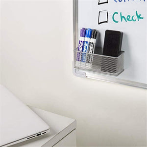 Explore magnetic office organizer set of 3 magnetic rectangular metal mesh storage bins basket perfect for whiteboard refrigerator and locker accessories silver