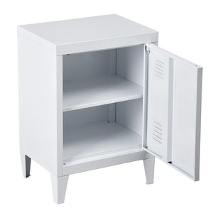 Home houseinbox metal locker organizer side end table office file storage 2 shelves detachable 4 legs size 15 9 x 12 x 22 6 white