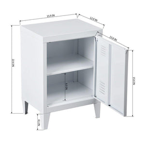 New houseinbox metal locker organizer side end table office file storage 2 shelves detachable 4 legs size 15 9 x 12 x 22 6 white