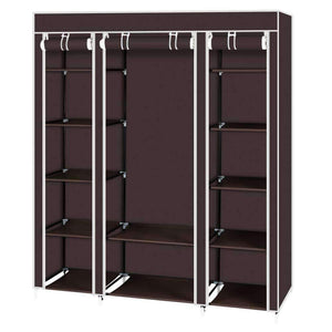 "Amashion 69"" 5 Tier Portable Clothes Closet Wardrobe Storage Organizer with Non-Woven Fabric Quick and Easy to Assemble (Dark Brown)"