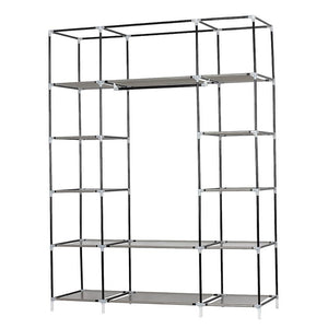 "53"" Gray Portable Closet Storage Organizer Clothes Non woven Fabric Wardrobe with Shelves Only Ship to US"