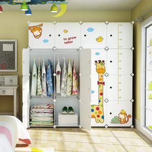 KOUSI Kids Dresser Kids Closet Portable Closet Wardrobe Children Bedroom Armoire Clothes Storage Cube Organizer, White with Cute Animal Door, Safety & Large & Sturdy, 10 Cubes & 2 Hanging Sections