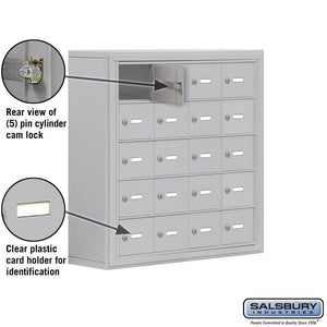 Kitchen salsbury industries aluminum 5 door high surface mounted cell phone storage locker unit with 20 a size doors and master keyed locks