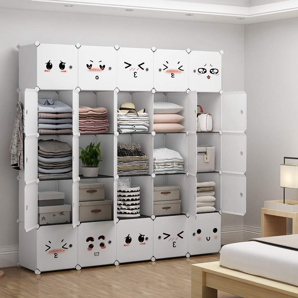 YOZO Modular Closet Portable Wardrobe Dreeser Organizer Clothes Storage Organizer Chest of Drawers Cube Shelving for Teens Kids DIY Furniture, White, 8 Cubes
