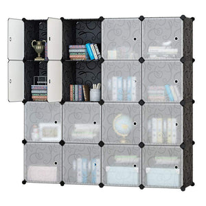 Honey Home Modular Plastic Storage Cube Closet Organizers, Portable DIY Wardrobes Cabinet Shelving with Doors for Bedroom/Office - 16 Cubes Black & White