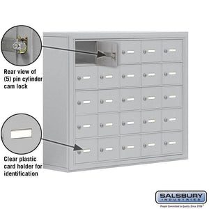 Online shopping salsbury industries aluminum 5 door high surface mounted cell phone storage locker unit with 25 a size doors and master keyed locks