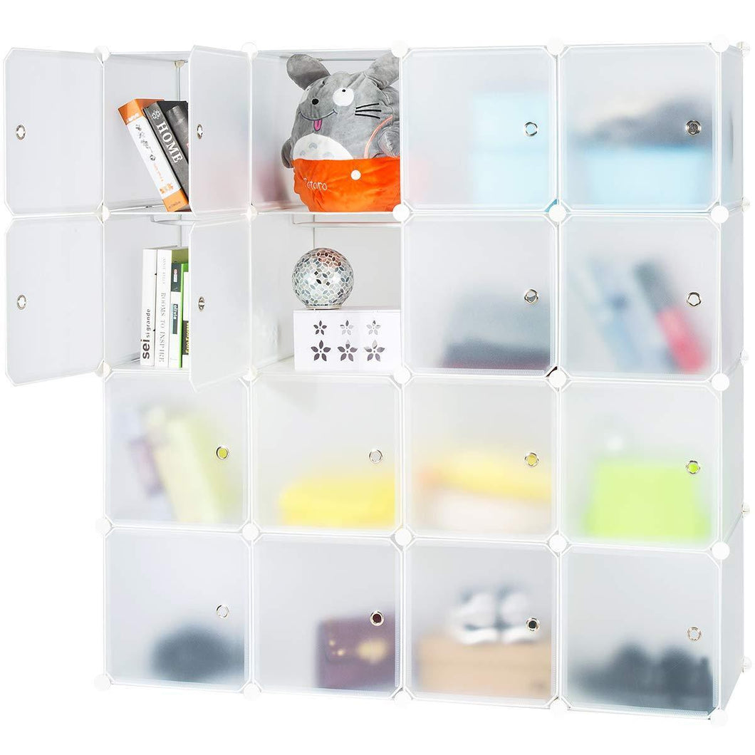 Honey Home Modular Storage Cube Closet Organizers, Portable Plastic DIY Wardrobes Cabinet Shelving with Easy Closed Doors for Bedroom/Office/Kitchen/Garage - 16 Cubes White