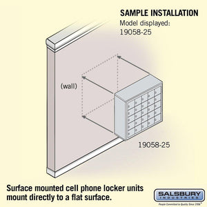 New salsbury industries aluminum 5 door high surface mounted cell phone storage locker unit with 25 a size doors and master keyed locks