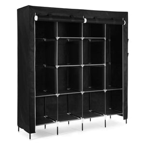 SONGMICS 67 Inch Wardrobe Armoire Closet Clothes Storage Rack 12 Shelves 4 Side Pockets, Quick and Easy to Assemble, Black URYG44H