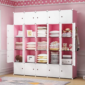 YOZO Modular Closet Cloth Storage Organizer Portable Kids Wardrobe Chest of Drawer ube Shelving Unit Multifunction Toy Cabinet Bookshelf DIY Furniture, Pink, 25 Cubes