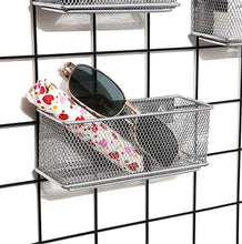 Load image into Gallery viewer, Great magnetic office organizer set of 3 magnetic rectangular metal mesh storage bins basket perfect for whiteboard refrigerator and locker accessories silver