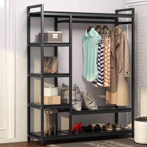 LITTLE TREE Free Standing Closet Organizer,Heavy Duty Closet Storage with 6 Shelves and Handing Bar, Large Clothes Storage & Standing Garmen Rack, Black