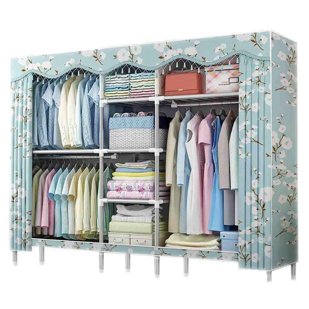 Cloth Wardrobe Bedroom Storage, Shading Cloth Steel Pipe Large Size Hanging Clothes Organizer Simple Home Portable Storage Closet for Clothes,79x18x65inch