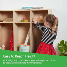 Load image into Gallery viewer, On amazon ecr4kids birch school coat locker for toddlers and kids 5 section coat locker with bench and cubby storage shelves commercial or personal use certified and safe 48 high natural