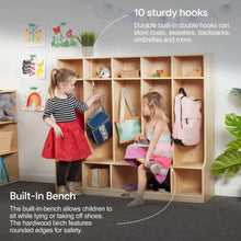 Load image into Gallery viewer, Online shopping ecr4kids birch school coat locker for toddlers and kids 5 section coat locker with bench and cubby storage shelves commercial or personal use certified and safe 48 high natural
