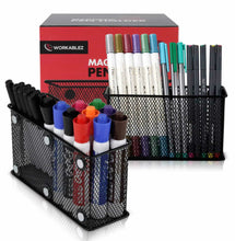 Load image into Gallery viewer, Order now large magnetic locker organizer set of 2 mesh pencil holder baskets with extra strong magnets perfect marker and pen storage holds securely your whiteboard and locker accessories