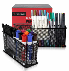 Order now large magnetic locker organizer set of 2 mesh pencil holder baskets with extra strong magnets perfect marker and pen storage holds securely your whiteboard and locker accessories
