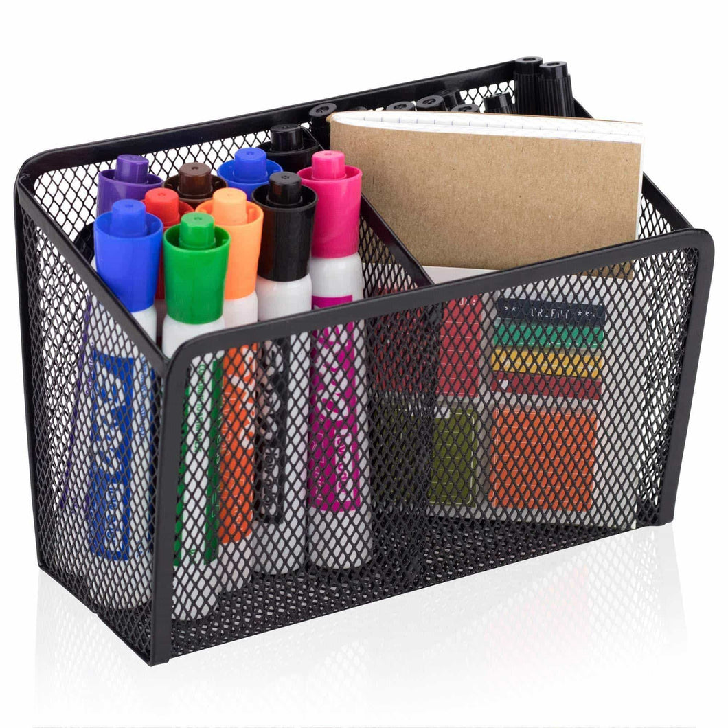 Cheap workablez magnetic pencil holder 2 generous compartments magnetic storage basket organizer extra strong magnets perfect mesh pen holder to hold whiteboard locker accessories