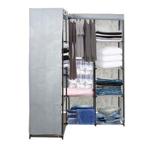 Dporticus Portable Corner Clothes Closet Wardrobe Storage Organizer with Metal Shelves and Dustproof Non-Woven Fabric Cover in Gray