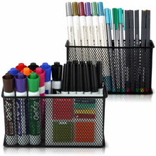 Load image into Gallery viewer, Online shopping large magnetic locker organizer set of 2 mesh pencil holder baskets with extra strong magnets perfect marker and pen storage holds securely your whiteboard and locker accessories