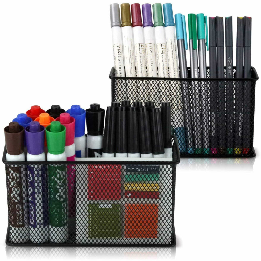 Online shopping large magnetic locker organizer set of 2 mesh pencil holder baskets with extra strong magnets perfect marker and pen storage holds securely your whiteboard and locker accessories