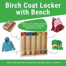 Load image into Gallery viewer, Order now ecr4kids birch school coat locker for toddlers and kids 5 section coat locker with bench and cubby storage shelves commercial or personal use certified and safe 48 high natural