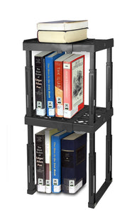 Save tools for school locker shelf adjustable width 8 12 1 2 and height 9 3 4 14 stackable and heavy duty holds 40 lbs per shelf black double