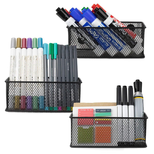 Best seller  workablez magnetic locker organizer set of 3 mesh pencil holder baskets with extra strong magnets perfect marker and pen storage holds securely your whiteboard and locker accessories