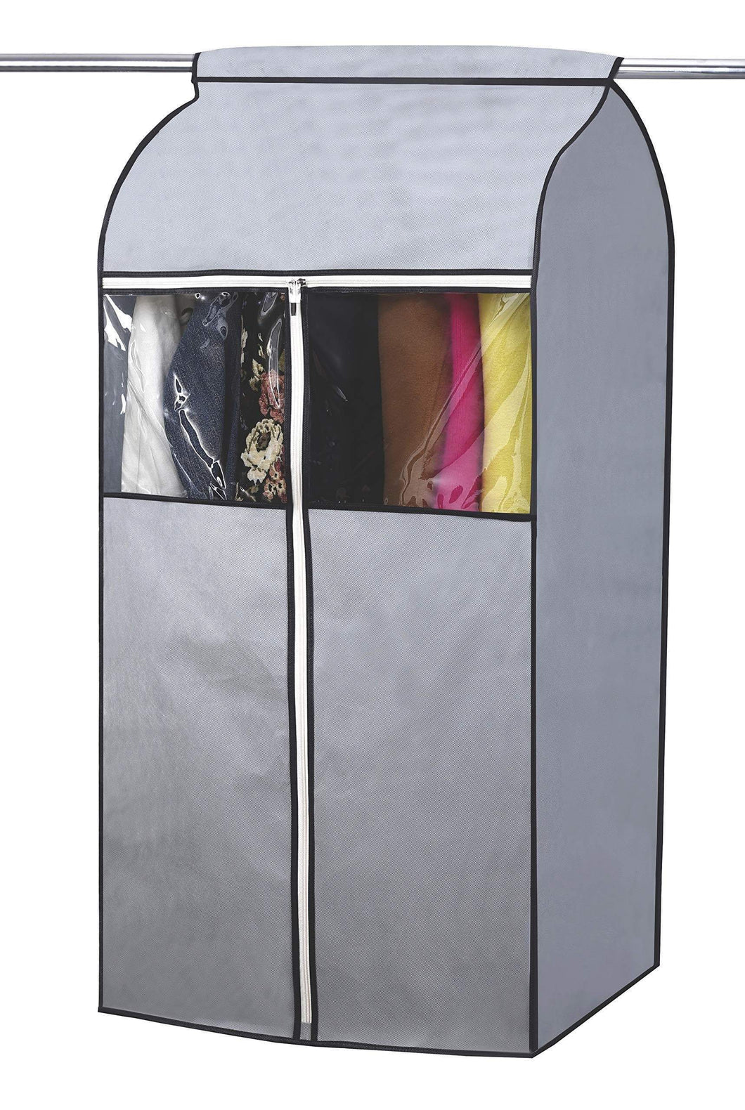 SLEEPING LAMB Garment Bag Organizer Storage with Clear PVC Windows Garment Rack Cover Well-Sealed Hanging Closet Cover for Suits Coats Jackets, Grey