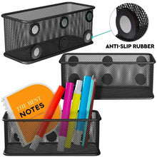 Load image into Gallery viewer, Top rated mesh magnetic storage basket with anti slip feature and strong magnets magnetic locker organizer and pencil holder for whiteboard and refrigerator set of 3 black