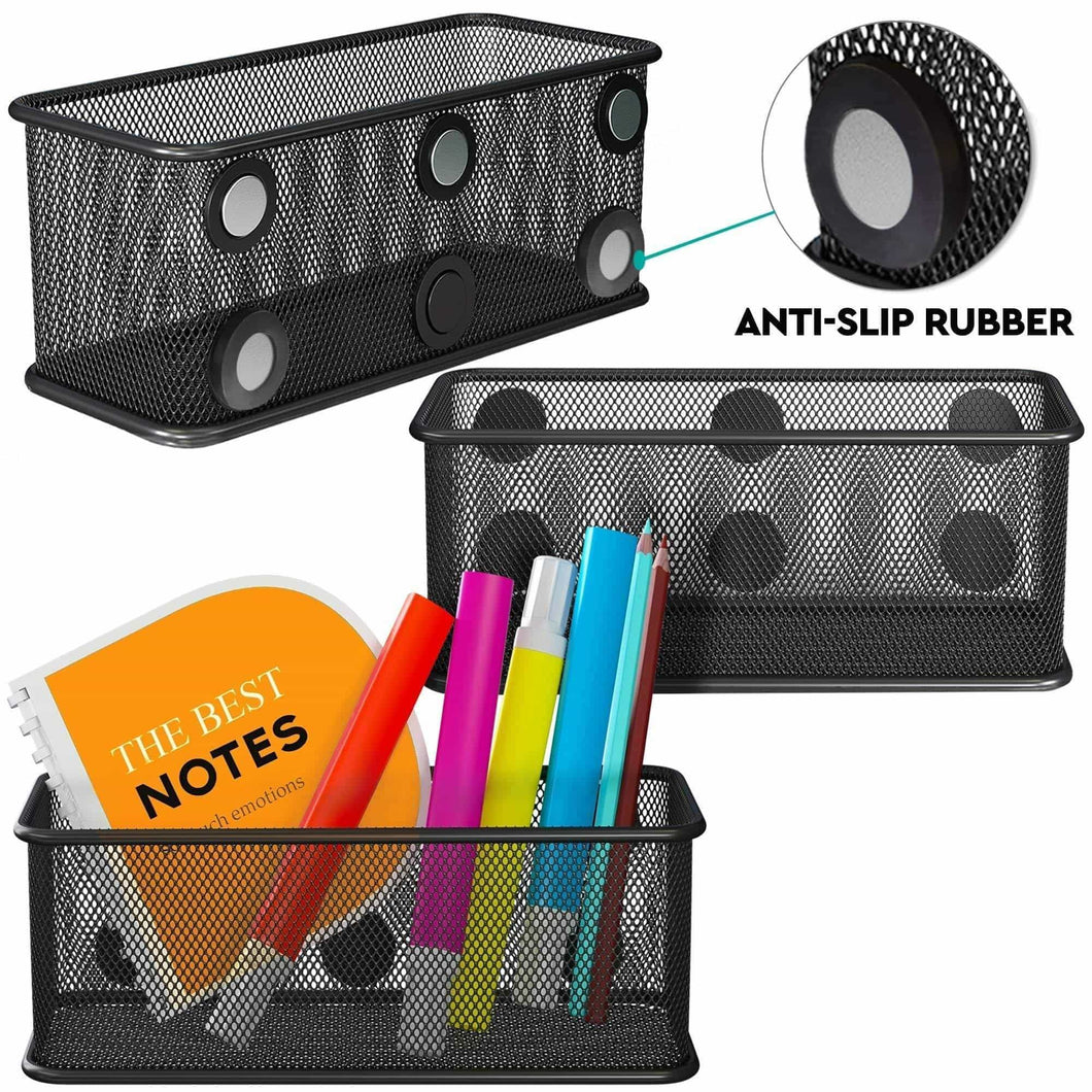 Top rated mesh magnetic storage basket with anti slip feature and strong magnets magnetic locker organizer and pencil holder for whiteboard and refrigerator set of 3 black