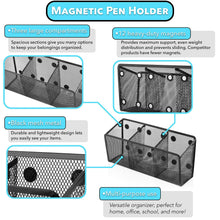 Load image into Gallery viewer, Storage essentialmate magnetic pen holder 12 strong magnets 3 storage compartments magnetic organizer for refrigerator office organization locker accessories