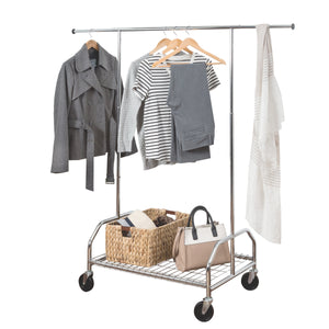 Rolling Garment Rack with Adjustable Bar and Shelf, Chrome