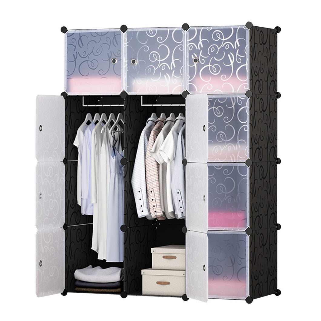 12-Cube Portable Closet, Plastic Wardrobe with Doors & 2 Hangers - Deeper Cubes Than Normal