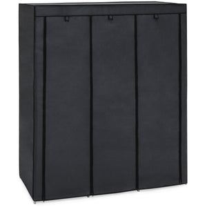 9-Shelf Portable Fabric Closet w/ Cover and Adjustable Rods - Black