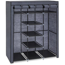 Load image into Gallery viewer, 9-Shelf Portable Fabric Closet w/ Cover and Adjustable Rods - Gray