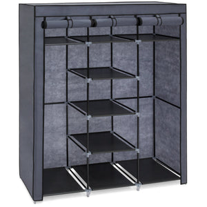 9-Shelf Portable Fabric Closet w/ Cover and Adjustable Rods - Gray