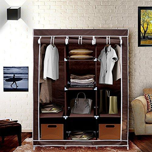 ADA Handicraft Collapsible Portable Foldable Almirah Wardrobe Closet Storage Organizer Wardrobe Clothes Rack with Shelves - Multi Color (Need to Be Assembled)