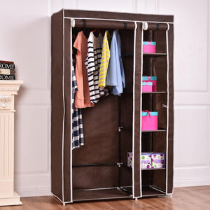 "69"" Portable Closet Storage Organizer Clothes Wardrobe Shoe Rack W/6 Shelf Brown Hw54397Bn"