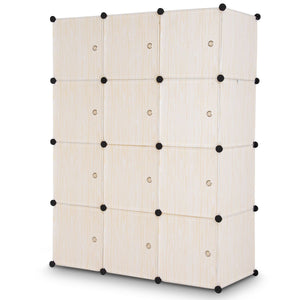 DIY Cube Portable Closet Wardrobe Storage Cabinet with Doors-Beige