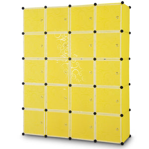 DIY Cube Portable Closet Wardrobe Storage Cabinet with Doors-Yellow