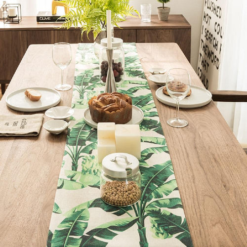 Green Banana Leaves B Table Runner