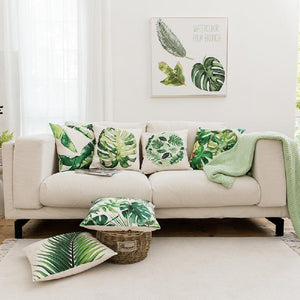 "Watercolor Monstera Pillow Cover 18"" x 18"""